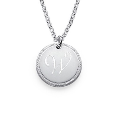 Sterling Silver Circle Initial Personalised Necklace - AMAZINGNECKLACE.COM