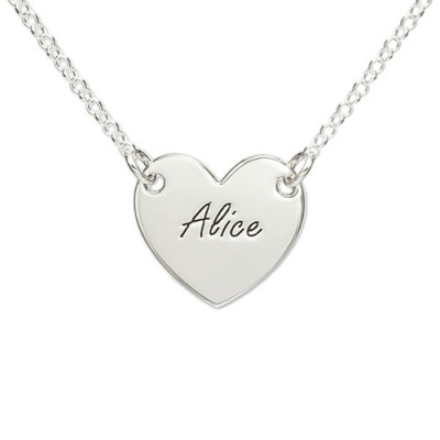Sterling Silver Engraved Heart Personalised Necklace - AMAZINGNECKLACE.COM