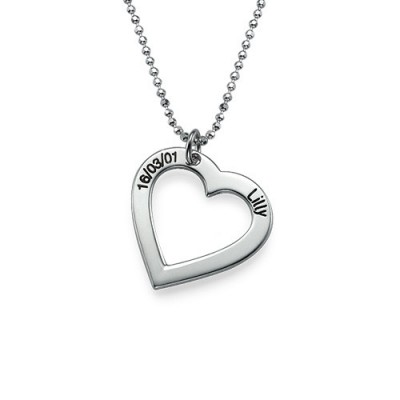 Sterling Silver Engraved Heart Personalised Necklace-One Pendant/Two Pendants/More Pendants - AMAZINGNECKLACE.COM