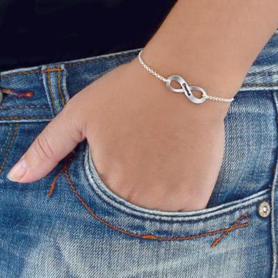 Sterling Silver Engraved Infinity Personalised Bracelet/Anklet - AMAZINGNECKLACE.COM