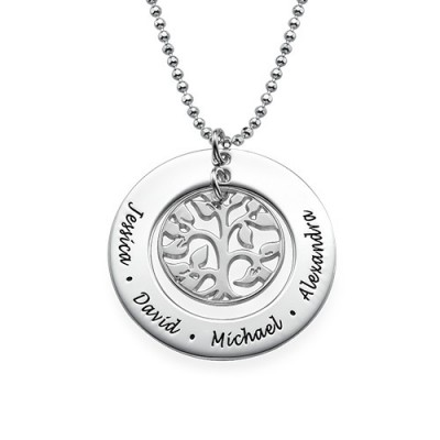 Silver Family Tree Personalised Necklace - AMAZINGNECKLACE.COM