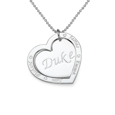 Family Heart Personalised Necklace in Silver - AMAZINGNECKLACE.COM