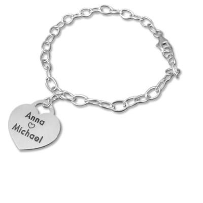 Sterling Silver Heart Charm Personalised Bracelet/Anklet - AMAZINGNECKLACE.COM