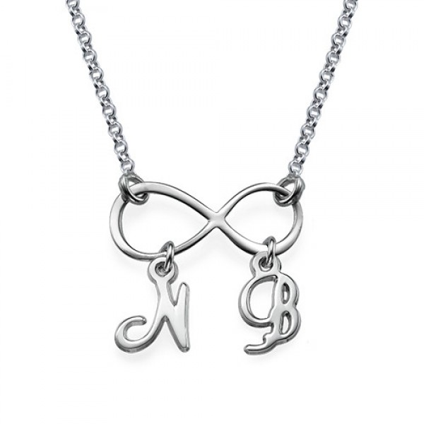 Sterling Silver Infinity Personalised Necklace with Initials - AMAZINGNECKLACE.COM