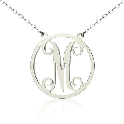 Sterling Silver Small Single Circle Monogram Letter Personalised Necklace - AMAZINGNECKLACE.COM