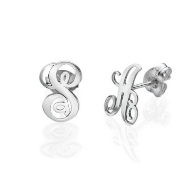 Sterling Silver Initial Stud Personalised Earrings - AMAZINGNECKLACE.COM
