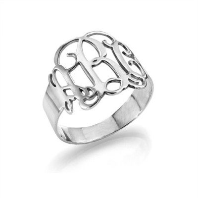 Sterling Silver Monogram Personalised Ring - AMAZINGNECKLACE.COM