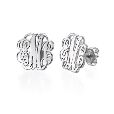 Sterling Silver Monogram Stud Personalised Earrings - AMAZINGNECKLACE.COM