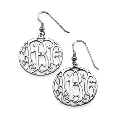 Sterling Silver Monogrammed Personalised Earrings - AMAZINGNECKLACE.COM
