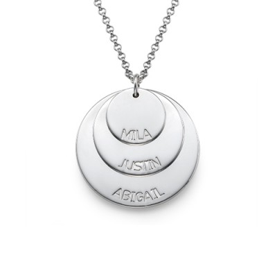 Sterling Silver Mummy Personalised Necklace with Kid's Names - AMAZINGNECKLACE.COM