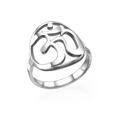 Sterling Silver Om Personalised Ring - AMAZINGNECKLACE.COM