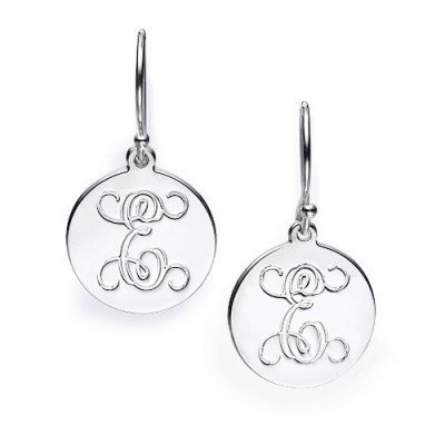 Sterling Silver Personalised Initial Earrings - AMAZINGNECKLACE.COM