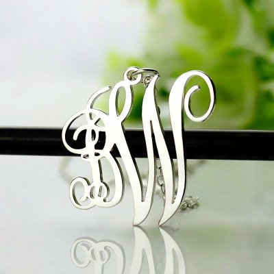 Birthstone Circle Monogram Personalised Necklace Sterling Silver  - AMAZINGNECKLACE.COM