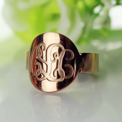 Solid Rose Gold Engraved Monogram Itnitial Personalised Ring - AMAZINGNECKLACE.COM