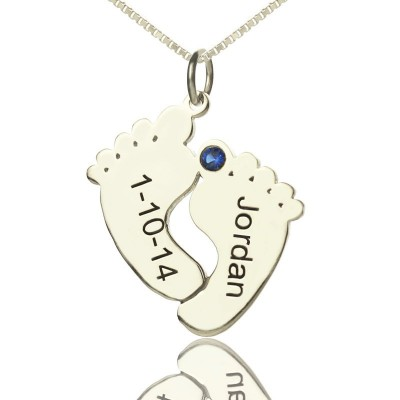 Personalised Memory Feet Necklace with Date  Name Sterling Silver - AMAZINGNECKLACE.COM