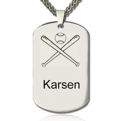 Baseball Dog Tag Name Personalised Necklace - AMAZINGNECKLACE.COM