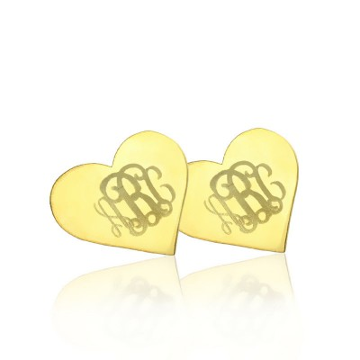 Heart Monogram Personalised Earrings Studs Cusotm Solid 18ct Gold - AMAZINGNECKLACE.COM