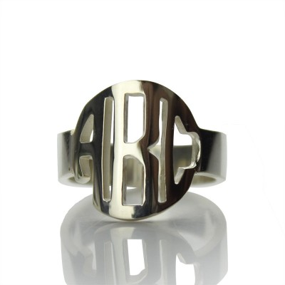Circle Block Monogram 3 Initials Personalised Ring Solid White Gold Personalised Ring - AMAZINGNECKLACE.COM
