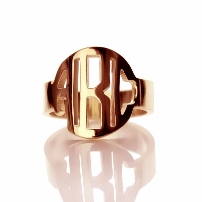 Personalised Circle Block Monogram 3 Initials Ring Solid Rose Gold Ring - AMAZINGNECKLACE.COM