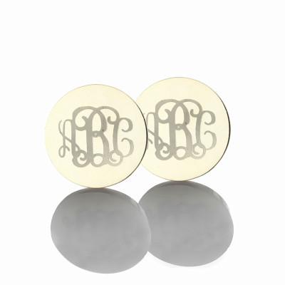 Engraved Monogram Stud Personalised Earrings Sterling Silver - AMAZINGNECKLACE.COM