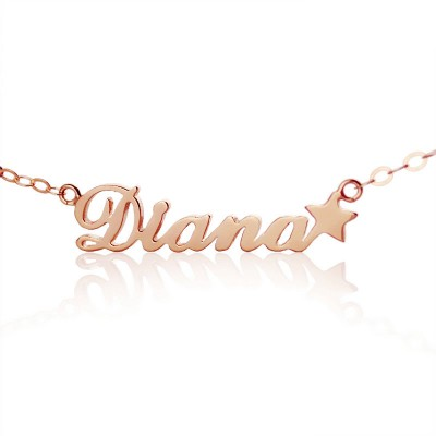 18ct Rose Gold Plated Carrie Style Name Personalised Necklace With Star - AMAZINGNECKLACE.COM