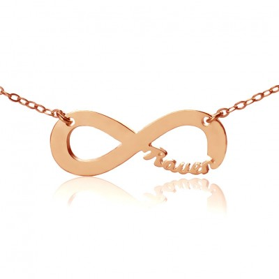 Solid Rose Gold 18ct Infinity Name Personalised Necklace - AMAZINGNECKLACE.COM
