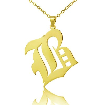 Solid 18ct Gold Plated Old English Style Single Initial Name Personalised Necklace - AMAZINGNECKLACE.COM