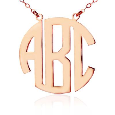 Solid Rose Gold Initial Block Monogram Pendant Personalised Necklace - AMAZINGNECKLACE.COM