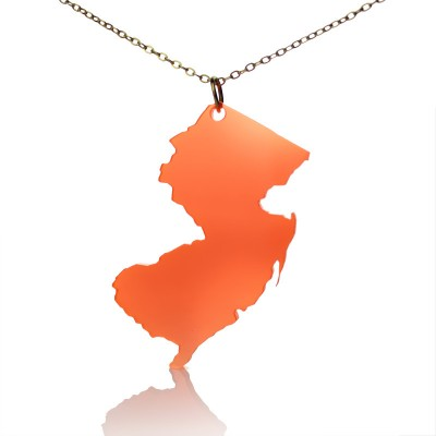 Acrylic New Jersey States Personalised Necklace American Map Personalised Necklace - AMAZINGNECKLACE.COM
