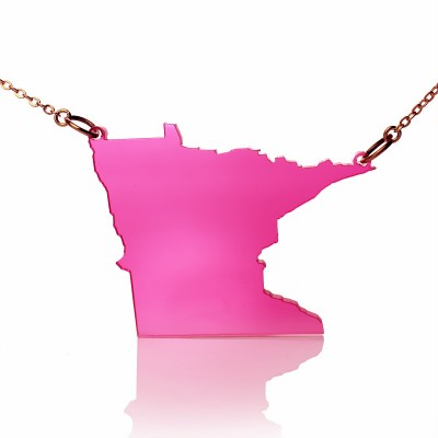 Acrylic Minnesota State Personalised Necklace America Map Personalised Necklace - AMAZINGNECKLACE.COM