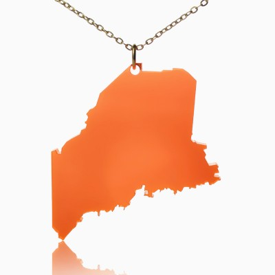 Acrylic Maine State Personalised Necklace America Map Personalised Necklace - AMAZINGNECKLACE.COM