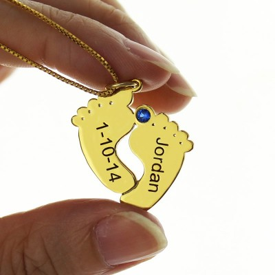 Birthstone Memory Baby Feet Charms with Date  Name 18ct Gold Plated  - AMAZINGNECKLACE.COM