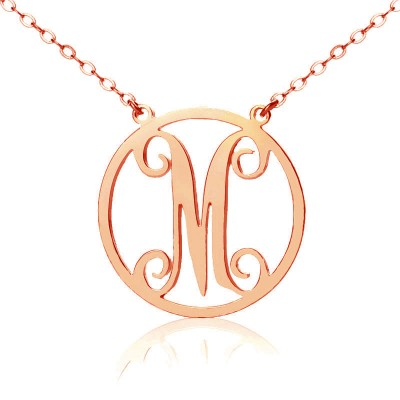 Solid Rose Gold 18ct Single Initial Circle Monogram Personalised Necklace - AMAZINGNECKLACE.COM