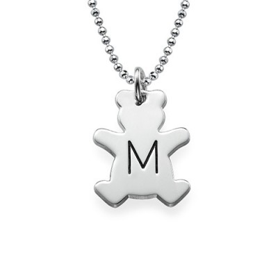 Teddy Bear Personalised Necklace with Initial in Silver - AMAZINGNECKLACE.COM