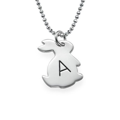 Tiny Rabbit Personalised Necklace with Initial in Silver - AMAZINGNECKLACE.COM