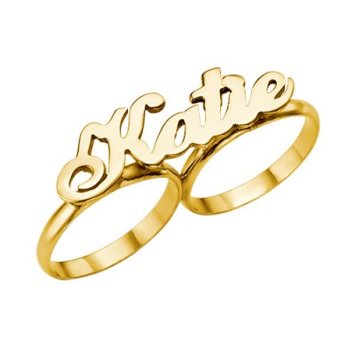 Two Finger Name Personalised Ring in Solid 18ct Gold - AMAZINGNECKLACE.COM