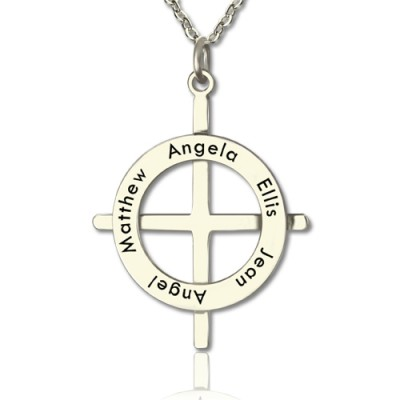 Silver Latin Style Circle Cross Personalised Necklace with Any Names - AMAZINGNECKLACE.COM