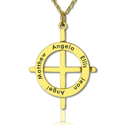 Gold Plated Silver Latin Style Circle Cross Personalised Necklace with Any Names - AMAZINGNECKLACE.COM