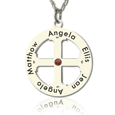 Family Circle Cross Name Personalised Necklace Silver - AMAZINGNECKLACE.COM