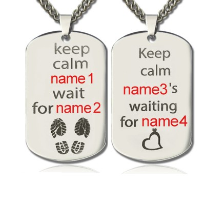 Personalised Cute His and Hers Dog Tag Necklaces Sterling Silver - AMAZINGNECKLACE.COM