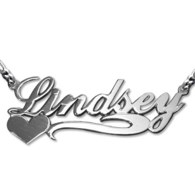 Double Thickness Side Heart Silver Name Personalised Necklace - AMAZINGNECKLACE.COM