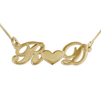 Couples Heart Personalised Necklace in 18ct Gold Plating - AMAZINGNECKLACE.COM