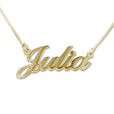 Small 18ct Gold-Plated Silver Classic Name Personalised Necklace - AMAZINGNECKLACE.COM