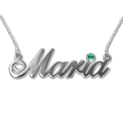 18ct white Gold and Swarovski Crystal Name Personalised Necklace - AMAZINGNECKLACE.COM