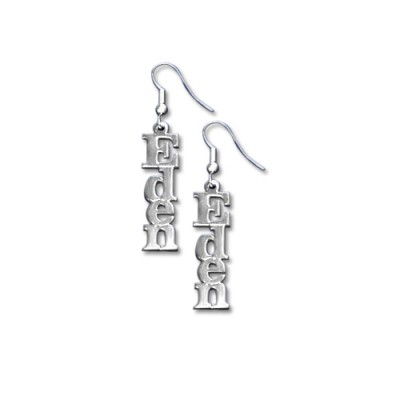 Sterling Silver Name Personalised Earrings - AMAZINGNECKLACE.COM