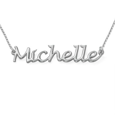 Silver Handwritten Name Personalised Necklace - AMAZINGNECKLACE.COM