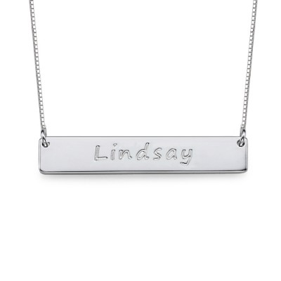 Sterling Silver Bar Nameplate Personalised Necklace - AMAZINGNECKLACE.COM