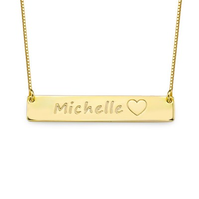 18ct Gold Plated Icon Bar Personalised Necklace - AMAZINGNECKLACE.COM