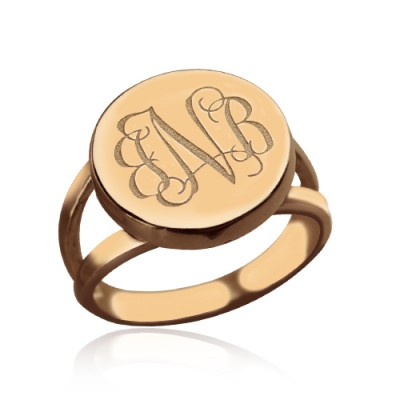 Rose Gold Circle Signet Monogram Personalised Ring - AMAZINGNECKLACE.COM