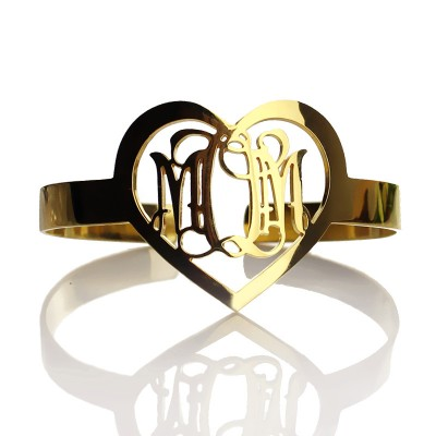 Personal Gold Plated Silver 3 Initials Monogram Personalised Bracelets With Heart - AMAZINGNECKLACE.COM